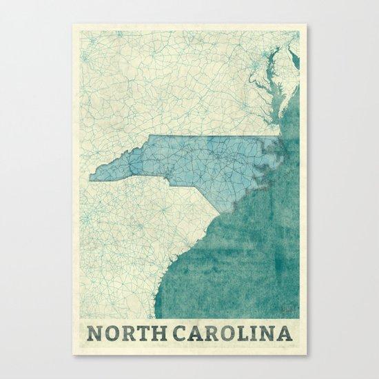 North Carolina State Map Blue Vintage Canvas Print