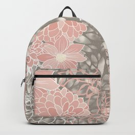 Festive, Floral Pattern Dahlias, Pink, Gray, White Backpack