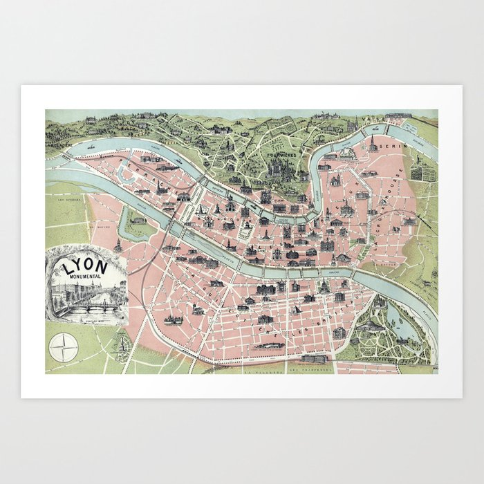 Vintage Map Of Lyon France 1894 Art Print By Bravuramedia Society6