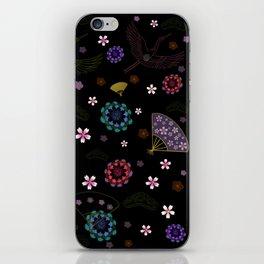 Black Japanese pattern kimono print iPhone Skin