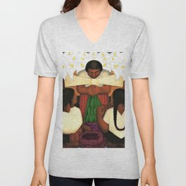 Calla Lily Flower Festival of Santa Anita by Diego Rivera Unisex V-Neck