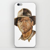 indiana jones iPhone & iPod Skins featuring Indiana Jones by Ashley Anderson