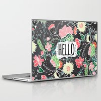 preppy Laptop & iPad Skins featuring Pastel preppy flowers Hello typography chalkboard by Girly Trend