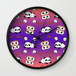 Cute funny Kawaii chibi little playful baby panda bears, happy sushi with shrimp on top, rice balls and chopsticks plum purple and bright orange pattern design. Nursery decor. Wall Clock