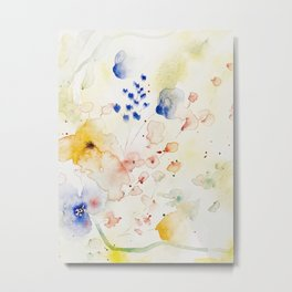 Abstract Floral Watercolor Metal Print