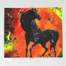 HORSE MOON AND DRAGONFLY VISIONS Throw Blanket