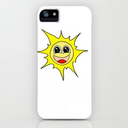 Drawn by hand a funny happy smiling sun for children and adults iPhone Case