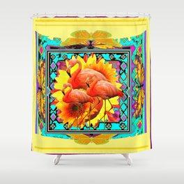 Ornate Yellow Art Flamingos Turquoise-Blue Design Shower Curtain