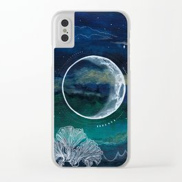 Crescent Moon Mixed Media Painting Clear iPhone Case