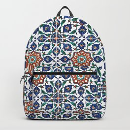 Iznik Tile Pattern Red Blue White Backpack