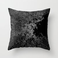 boston map Throw Pillows featuring Boston map by Line Line Lines