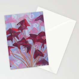 Oxalis, Blue & Burgundy version Stationery Cards