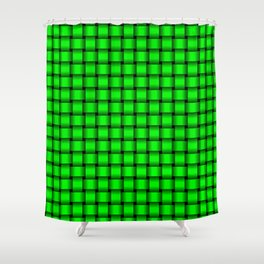 Small Neon Green Weave Shower Curtain