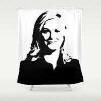 leslie knope Shower Curtains featuring Leslie Knope by Bjarni Bragason