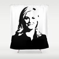 leslie knope Shower Curtains featuring Leslie Knope by Bjarni Bragason