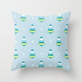 Blue Frost Holiday Bells Throw Pillow