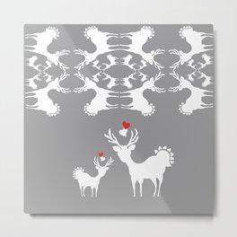 Cervidae Deer Pattern with Heart Metal Print