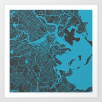 boston map Art Prints featuring Boston map by Map Map Maps