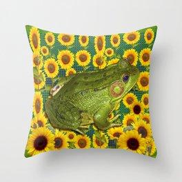 AVOCADO GREEN BOG FROG & YELLOW FLOWERS Throw Pillow