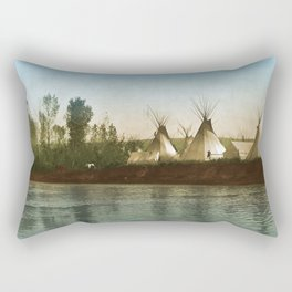 Crow Indian Camp on the Rivers Edge Rectangular Pillow