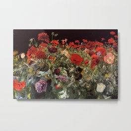 Violet Blue, Red, and Pink Poppy Blossoms portrait painting by John Singer Sargent Metal Print