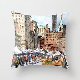 Union Square Greenmarket Throw Pillow