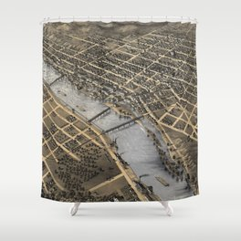 Vintage Pictorial Map of Grand Rapids (1868) Shower Curtain