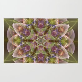 Fantasy flower with tribal patterns Rug