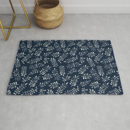 White Leaves on Navy - a hand painted pattern Rug