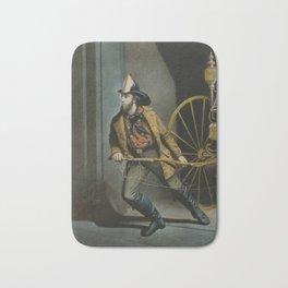 Historical American Firefighter Illustration (1858) Bath Mat