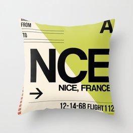 NCE Nice Luggage Tag 2 Throw Pillow