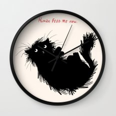 Human Feed Me Now Wall Clock