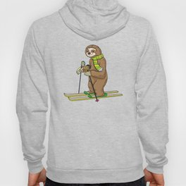 Sloth with scarf as skier with skis Hoody