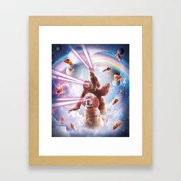 Laser Eyes Space Cat Riding Sloth, Dog - Rainbow Framed Art Print