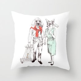 Bestial cricket couple Throw Pillow