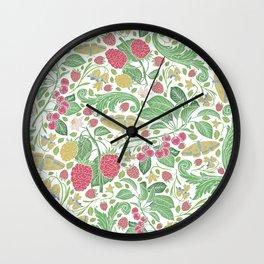 English garden berries flowers & butterflies Wall Clock