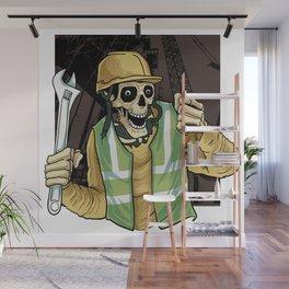 mechanical engineering skull Wall Mural