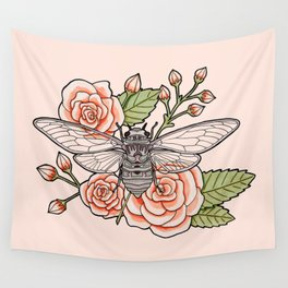 Cicada with Roses - Pink Wall Tapestry
