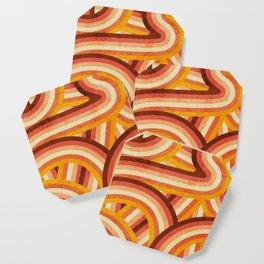 Vintage Orange 70's Style Rainbow Stripes Coaster