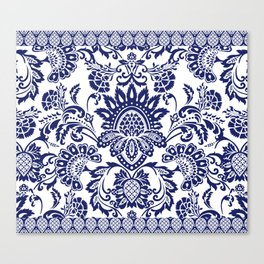 damask blue and white Canvas Print