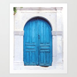 Vibrant Blue Greek Door to Whitewashed Home in Crete, Greece Art Print