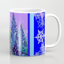 BLUE-LILAC WINTER SNOWFLAKE CRYSTALS FOREST ART DESIGN Coffee Mug