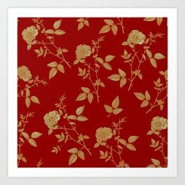GOLDEN ROSE FLOWERS ON BURGUNDY Art Print