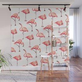 Flamingo Pattern - White Wall Mural