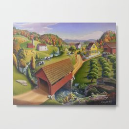 Red Covered Bridge Country Landscape Metal Print