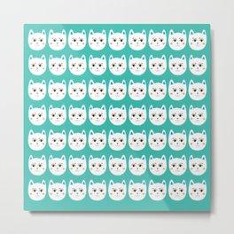 Coy White Kitty Cats Metal Print