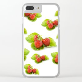 Three fresh strawberries fruits on green leaf Clear iPhone Case