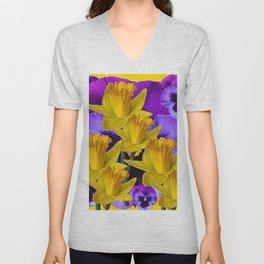 YELLOW DAFFODILS AGAINST PURPLE PANSIES Unisex V-Neck