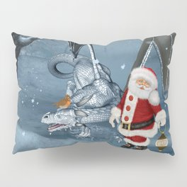 Santa Claus with ice dragon in a winter landscape Pillow Sham