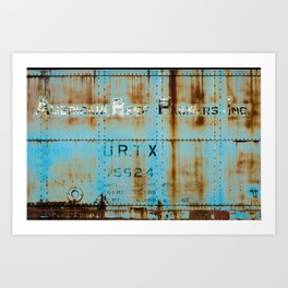 Rusting Blue Boxcar Train Trains Cargo U R T X 75524 Art Print